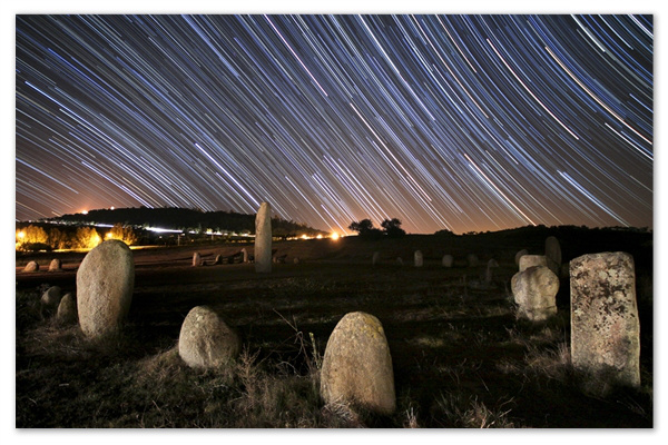 Megoliths and star trails in the Alqueva Dark Sky Reserve in Portugal. Credit: © Miguel Claro